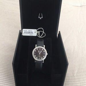 Bulova Crystal Black Leather Watch
